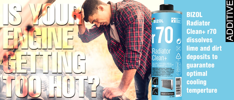 Man over engine, radiator clean